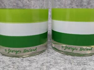 Set of Two Georges Briard Rocks Low Ball Glasses Green White Stripe MCM Barware