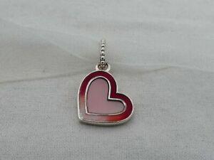 Estate Pandora Sterling Silver Loved Enamel Heart Dangle Charm DS-8