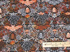 Bats Skulls & Webs Damask Halloween Fabric by Timeless Treasures  1/2 Yard #4577