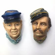 Bossons American Civil War Infantry Officer And Drummer Boy Chalkware Heads 1986