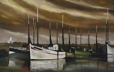 The port Lesconil Finistère Country Bigouden Brittany antique oil on panel