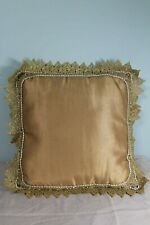 Vintage Hand Sewn Embroidery  Pearl and Beads Accented Gold Lace Pillow Cushion
