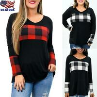 USA Women Plaid Long Sleeve Casual Top Sweatshirt Xmas Pullover Blouse Plus Size