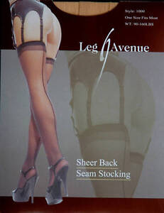 Leg Avenue Fashion Sheer Back Seam Nude Stockings One Size