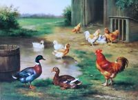 Vintage art Ducks in pond Chickens Farm yard by Edgar Hunt