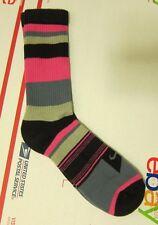 NIKE Socks 1 Pk Pair Pink Grey Black White L Large Womens 10-13 Stripes Crew