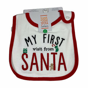 Carter's Baby Bib My First 1st Visit From Santa Claus Christmas Water Resistant