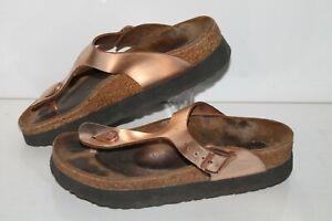 Papillio by Birkenstock Sandals, Bronze, Leather, Womens US Size 8, EU 39