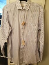 HENRY GRETHEL, Striped red, Blue & White Cotton Men's Shirt, 16.  32/33 NWT