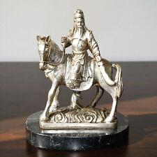 18cm Guan Yu General Bronze versilbert Figur Skulptur Statue Marmorsockel China