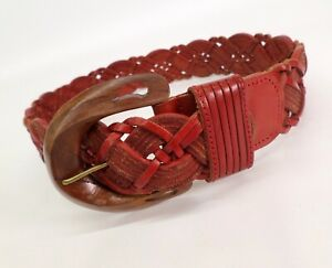 Braided Leather Belt Petite 24 26 Wooden Buckle Red Vtg 302