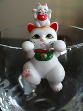 !! Japanese LUCKY Maneki Neko Mom & baby Cat from Japan ~ Hanging Style