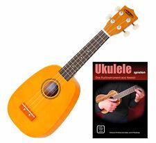 Coole Sopran-Ukulele in Ananas Optik im Set mit Ukulelenschule für Einsteiger