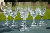 Service de 6 verres à eau en cristal d'Arques. Modèle Pompadour.