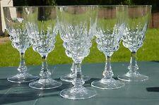 Service de 6 verres à vin rouge en cristal d'Arques. Modèle Pompadour.