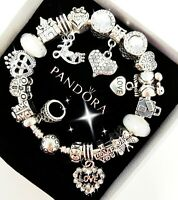 Authentic PANDORA Bracelet Silver with I LOVE YOU European Charms New