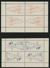 France 1935 Rocket tete-beche perf sheets Ellington-Zwisler 4A1 blue & 4A2 red