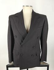 Vtg 40s Brown Pinstripe Wool Double Breasted DB Gangster Hollywood Suit 38 40R