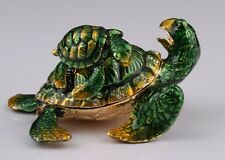 Turtle and baby trinket box by Keren Kopal Austrian Crystal Jewelry box Faberge