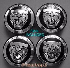 4 X Jaguar XJ, XK, S type BLACK Badge Wheel Center Hub Caps