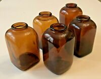 Vintage - 5 1930s Small Square Shaped Amber Glass Snuff Bottles 3 & 4 Dots