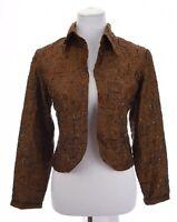 Chico's Womens 100% Silk Beaded Sequin Cropped Jacket Blazer Brown Sz 1 Medium