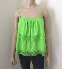 Hollister Womens Lace Ruffle Tank Top Size Large Shirt Lime Green Tiered