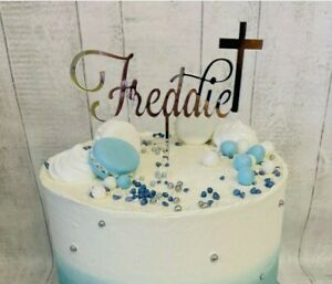 Personalised communion acrylic cake topper confirmation baptism naming day cross