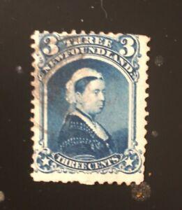 Stamps Newfoundland Sc34 3c blue Queen Victoria of 1873, see description