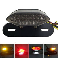 12v Smoke LED Motorcycle Brake Tail Turn Signal License Plate Integrated Light