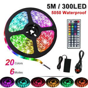 5050 LED Strip Lights RGB Lamp Waterproof Flexible Tape Self Adhesive+Adapter