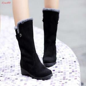 sweet Women's round Toe faux suede warm fur lined snow mid calf Boots