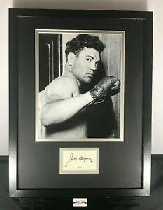 Jack Dempsey Signed Auto Autographed 12x16 Framed Photo & Cut JSA COA