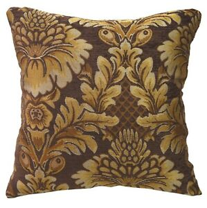 We57 - Brown Big Peony Flower Leaf Bolster Case/Pillow/Sofa Seat Cushion Cover