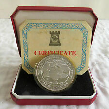 CONCORDE 1977 LONDON - SINGAPORE HM SILVER PROOF CROWNMEDAL - boxed/coa