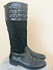 Aquatalia Deliver Waterproof Black Suede/Leather Buckle Riding Boots Sz 9.5 $598