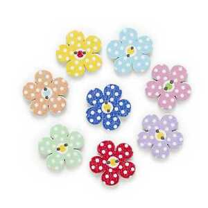 30pcs Flower Wood Buttons for Sewing Scrapbooking Clothing Headwear Decor 20mm