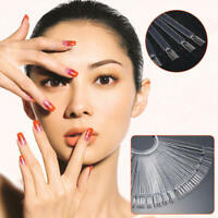 50x False Nail Tips Fan Polish Palette Nail Art Practice Tip Sticker Display cde