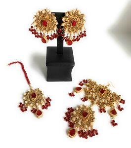 Pakistani Indian Wedding Bollywood Earrings Tikka Jhoomar Set