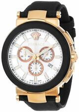 Versace Men's VFG050013 MYSTIQUE SPORT 46MM Chronograph Gold IP Leather Watch