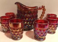 Westmoreland Thousand Eye Red Carnival Glass Childs Water Set Pitcher 6 Tumblers