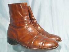 Vintage FLORSHEIM IMPERIAL Brown Leather Side Zip Ankle Beatle Boots Sz 10 EEE
