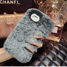 Girl's Luxury Bling Diamonds Soft Plush Fuzzy Rabbit Fur Back Phone Case Cover
