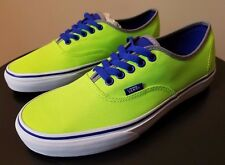 VANS Authentic Skate Shoes Mens 9 Womens 10.5 Brite Neon Green Blue Sneakers