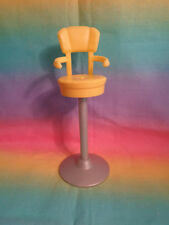 Dollhouse Size Tall Stool Salon Bar Chair Plastic Yellow / Grey