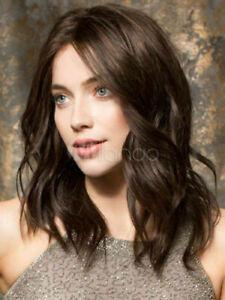 100% Human Hair New Fashion Glamour Medium Dark Brown Wavy Top Human Hair Wigs