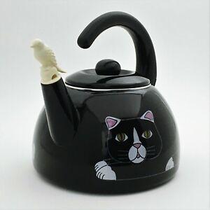 Vintage Black Cat Tea Kettle Kamenstein Teapot Tail Handle Bird Steam Whistle