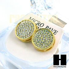 Lab Simulated Diamond Gold Hip Hop Iced Out 15mm Big Bling Circle Earrings GE136