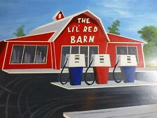 Vintage Original Painting of The Lil' Red Barn a mock-up for now Kum-N-Go Stores