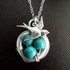Women's Antique Wealth Bird Natural Gemstone Turquoise Pendant Necklace B